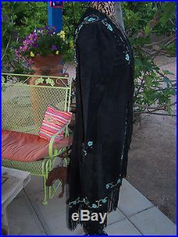 NWOT$740 Painted Turquoise Stud Fringe Long Western Duster CoatSPatricia Wolf