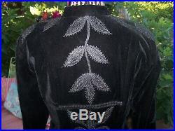 NWT$290Black Velvet Embroidered Falling Leaves Western Blazer JacketXLRoja