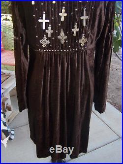 NWT$583Western Biker Coptic Cross Velvet Dress Duster CoatM/LDouble D Ranch