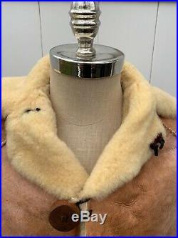 Native American Handmade Sheepskin Vintage Genuine Sherpa Leather Coat Jacket M