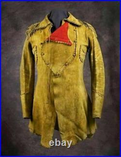 Native American Western Wear Style Coat Buckskin Suede Leather Jacket War Shirt
