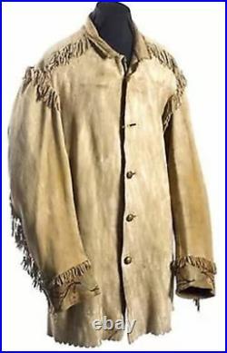 Naya Native American Men's Leather coat Mountain Man coat small fringes