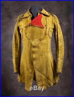 Naya New Men's Cowboy Native American Western Buckskin Fringes Leather Jacket Co