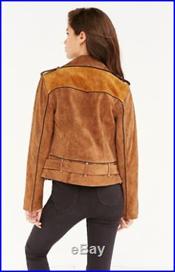 New $269 Urban Outfitters Ecote Brown Black Spliced Western Suede Moto Jacket M