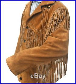New Classic Mens Western Cowboy Suede Leather Jacket With Fringe and Beads Work