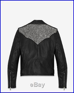 New Genuine Leather Classic Moto Jacket Western Studded Motorcyle Rock Mens
