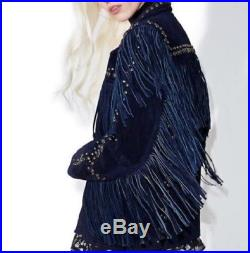 New Handmade Women's Blue Suede Leather Fringe Jacket Western in Indian Style