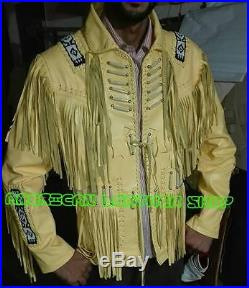 New Men Indian Western Style Biege Cowboy Leather Jacket With Fringe Bones