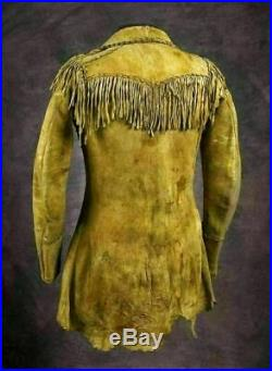 New Men's Cowboy Native American Western Buckskin Fringes Leather Jacket Coat