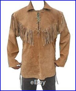 New Men's Native American Western Cowhide Suede Leather Jacket Coat