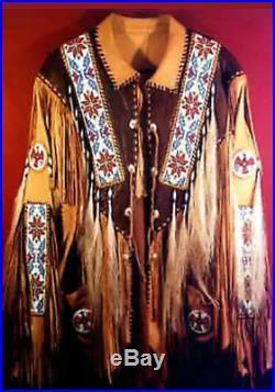 New Mens Cowboy Native American Western Buckskin Fringes Leather Jacket Coat NK