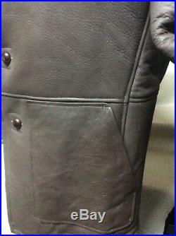 New Mens Genuine Shearling Sheepskin Western Cowboy Rodeo Marlboro Jacket Coat