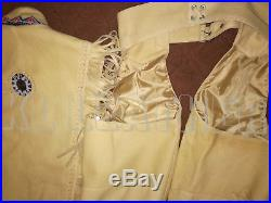 New Mens Handmade Western Cow Leather Jacket Vest and Pants Bones, Fringe Beads