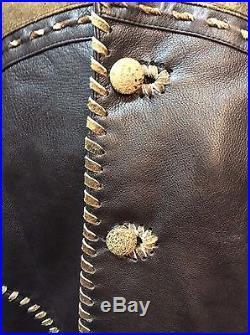 New Mens Vintage Italian Lamb Skin Brown Leather Western Cowboy Dress Jacket