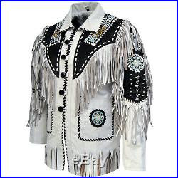 New Mens White Handmade Western American Style Cowboy Leather Jacket Fringes