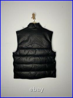 New Polo Ralph Lauren Medium Black Leather Vest Jacket Down RRL Rugby Western