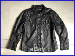 New Polo Ralph Lauren XXL Distressed Leather Jacket Shirt VTG RRL Western Washed