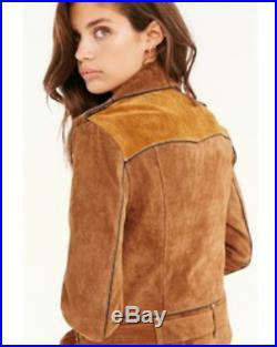New Urban Outfitters Ecote Brown Suede Spliced Western Jacket Moto Size Medium