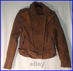 New Urban Outfitters Ecote Brown Suede Spliced Western Jacket Moto Size Small