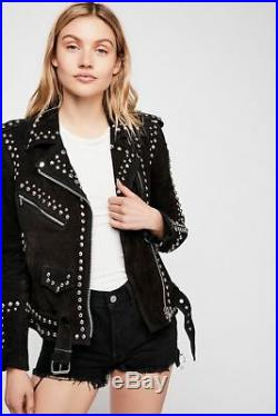New Woman Black American Western Silver Studded Suede Leather Jacket