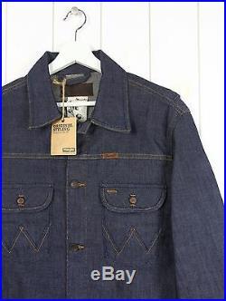 New Wrangler Blue Western Vintage Rodeo Denim Dry/raw 12 Oz Jacket Bell L Large