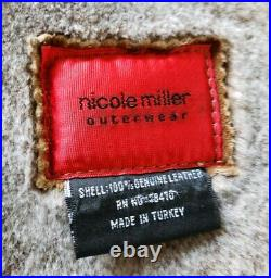 Nicole Miller genuine shearling coat rancher blazer sheepskin jacket lamb fur M