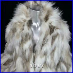 Nwot$400taharisz Mstunning White Beige Blonde Faux Fox Fur Coat Jacket