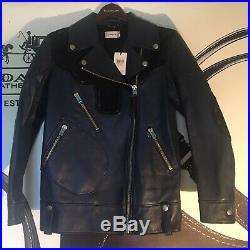 Nwt $1950 Coach Ink Blue Leather Rip Repair Western Moto Biker Jacket Coat Sz 6