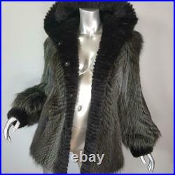 Nwt$3800fur Vaultm/lgenuine Mink Real Raccoon Fur Hooded Coat Jacketnot Fox