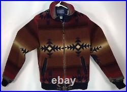 PENDELTON Western Navajo Aztec Blanket Zipper Coat Jacket Bold Colors 39 Chest