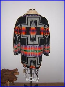 PENDLETON HIGH GRADE WESTERN WEAR WOOL Blanket COAT Jacket SHEEP SKIN Collar