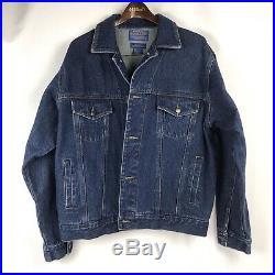 PENDLETON Mens Denim Wool Jacket L Indian Patch Back High Grade Western Wear EUC