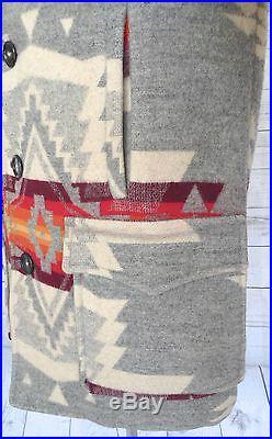 PENDLETON Rare VINTAGE 70's WESTERN Wear WOOL BLANKET COAT Jacket NAVAJO INDIAN