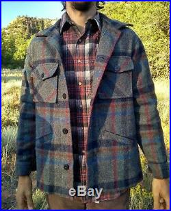 PENDLETON VINTAGE 1970's Western Wear Heavy WOOL COAT JACKET Gray Southwest RARE