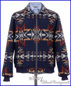 PENDLETON Vintage VTG Blue Western AZTEC Blanket Wool Mens Jacket Coat LARGE