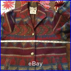 PIONEER WEAR VTG Southwestern Saddle Blanket Jacket Coat Wool Blend Size Medium