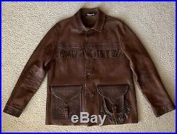 POLO RALPH LAUREN Mens RARE Vintage Fringe Western Brown Leather Jacket Size L