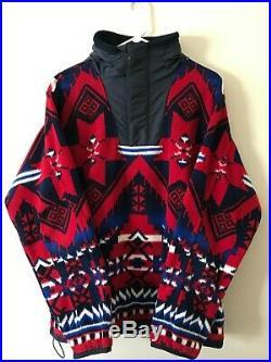 POLO RALPH LAUREN Vintage Native Aztec South Western Fleece Zip RRL Jacket LARGE