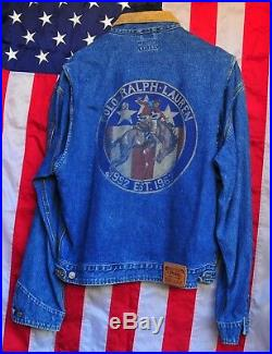 POLO Ralph Lauren Vintage Western Cowboy Bronc Rider Rodeo Denim Jacket Mens M