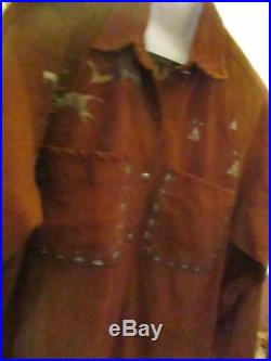 Patricia Wolf Hand Painted Western Suede Shirt Jacket Size M Vintage Texas