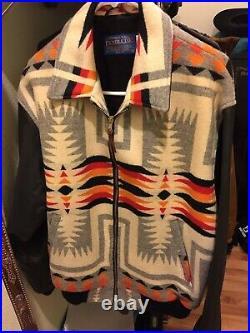 Pendleton Aztec Blanket southwestern coat Jacket bomber Wool Leather Medium