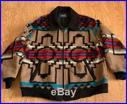 Pendleton High Grade Vtg Western Wear Aztec Navajo Indian Blanket Jacket XL