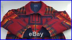 Pendleton High Grade Western Wear Men's Wool Indian Aztec Blanket Coat Jacket L