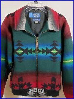 Pendleton High Grade Western Wear Wool Blend Zip Up Jacket Mens Size S LV86