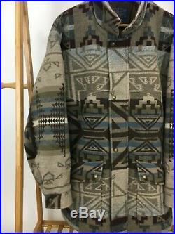 Pendleton High Grade Western Wear Wool Navajo Blanket Coat Jacket Size L USA