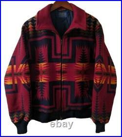 Pendleton High Grade Western Wear Wool Vintage Red Zip Bomber Jacket Coat Aztec