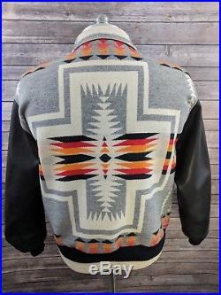 Pendleton Mens Navajo Native Western Coat Blanket Wool Leather Sleeves Size XL