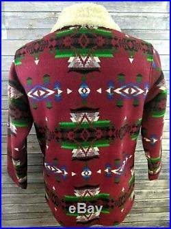Pendleton Orvis Mens Jacket Coat Shearling Collar Aztec Indian Blanket Large