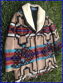 Pendleton Ranch Western Wear Southwestern Wool Blanket Sherpa Jacket Mens 46