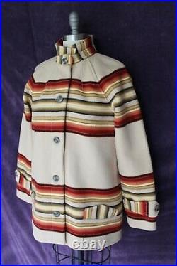 Pendleton Toboggan jacket Coat Wool Aztec Navajo Glacier Park Stripe Blanket